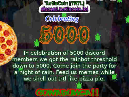 TurtleCoin Devs Throwing a Saturday Night Turtlecoin Rain Party! Already 600,000 TurtleCoins Given Away for Free!